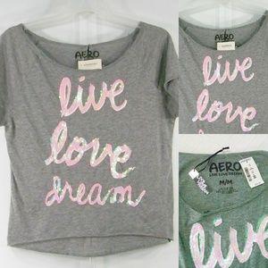 NWT Aeropostale M Tee Gray Sequins Live Love Dream
